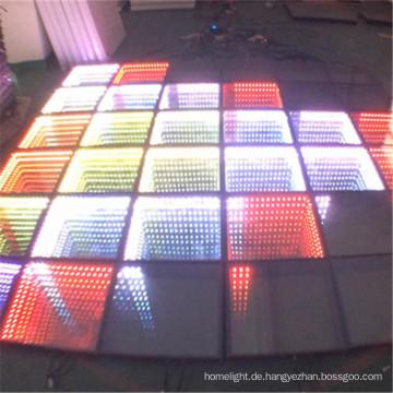 Gehärtetes Glas Portable Interaktive LED Dance Floor Licht 3D Unendlichkeit Tanzfläche