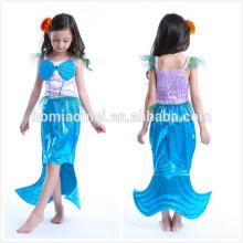Personnalisé fait la mode sirène cosplay costume bleu couleur partie porter princesse robe filles pour les filles