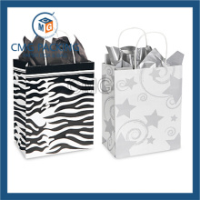 White Paper Black Printing Handle Paper Bag (DM-GPBB-148)
