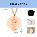 Stainless Steel Rose Gold Disc&Key Pendant Necklace For Couple Custom Initials Memory Gift Girls