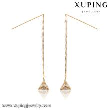 92809 Pendientes de oro de peso ligero largo en forma de triángulo diseños de joyas con preciosas mujeres pendientes de gota de piedras preciosas