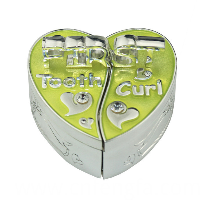 Heart shape zinc alloy baby first tooth and curl box