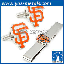 San Francisco giants cufflinks and tie bar gift set, custom made metal tie clip with design