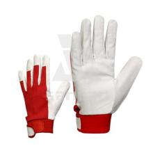 Leder Weiß & Rot Motorrad Handschuh