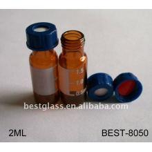 Fiole d'échantillonneur automatique de verre de 2ml, fiole d'échantillonneur automatique en verre d'ambre, fiole d'échantillonneur automatique en verre de hplc