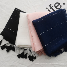 Moda feminina viajar cachecol xale de algodão liso com borlas lenço xadrez de lantejoulas
