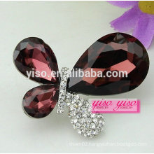 large glass crystal stone butterfly brooch pin