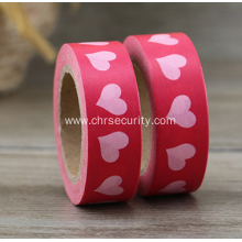 Pink heart pattern red label sticker custom DIY washi tape