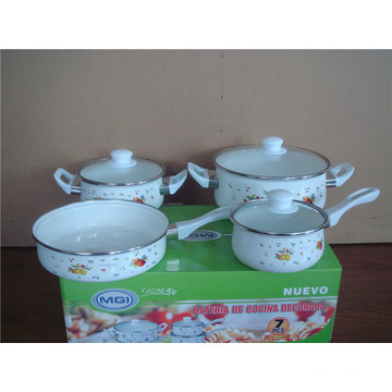 enamel cooking pot set with bakelite handle