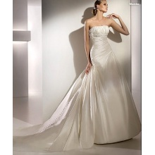 Kekaisaran A-line Strapless Cathedral Melatih Taffeta Beading Draped Wedding Dress
