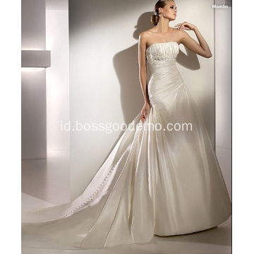 Kereta Katedral Empire A-line Strapless Taffeta Beading Draped Wedding