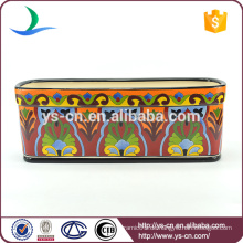 YSfp0008 Heißer Verkauf rechteckiger keramischer Blumentopf mit handprint Entwurf