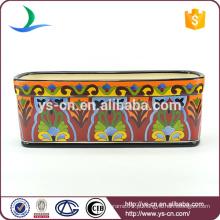 YSfp0008 Venda quente retangular cerâmica flowerpot com design handprint