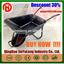 WB6414t power solid wheel metal tray wheel barrow for Europe Southeast Asia Australia market Gardening concrete