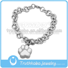 Aço inoxidável 316L com impressão da pata manter cinzas do cão de estimação no bracelete