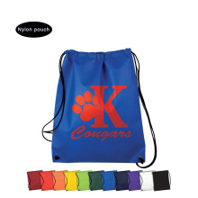 Blue nylon shoudle bag with custom logo