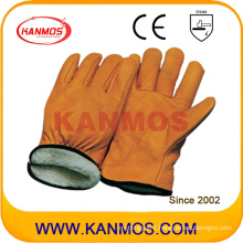 Cowhide Grain Leather Full Lining Winter Industrial Safety Driver Leather Work Glove (12306)