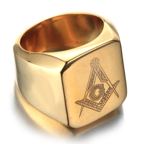Stainless Steel Signet Pattern Ring For Man