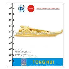 Boucle de cravate métallique en forme de navire avec plaqué or