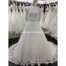 Real Muestras Ball Gown Off-Hombro 3/4 mangas de rebordear cintura encaje Appliqued marfil más vestido de boda de tamaño musulmanes A090