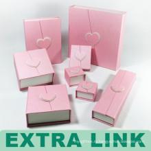 Розовый Складной Подгонянный Логос Комплект Ювелирных Изделий Упаковочной Коробки С Магнитным Замком