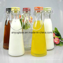Milk Beverage Swing Top Clip Cap Glass Water Bottles for Juice