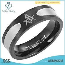 8mm schwarzer Titanium Freimaurer Ring Carbon Fiber Inlay