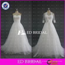 ЭД Свадебные a линия Белый тюль без бретелек рукавов этаж Длина свадебные платья