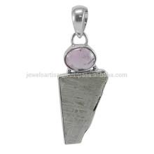 Meteorite Slice & Tourmaline Gemstone com 925 Silver Handmade Design Pendant