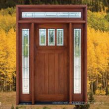 Hecho en la casa de China Diseño de puerta de madera ambiental con vidrio
