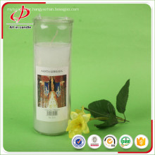 Religious votive virgin mary label jar candle