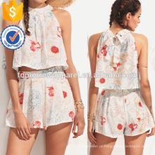 Halter Flower Imprimir Top Com Zipper Shorts Fabricação Atacado Moda Feminina Vestuário (TA4008SS)