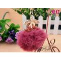 Real rabbit fur ball creative big double c crystal key chain ladies rhinestones fur ball key pendant fashion keyring