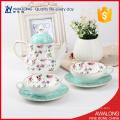 Élégance rose dot tasse à café et pot thé en céramique tasses et soucoupes