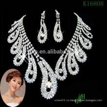 Три части Zircon Свадебное ожерелье кристалл горный хрусталь ожерелье
