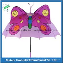 Regalo promocional de fantasía mariposa forma catoon niños paraguas niños para el sol y la lluvia uso