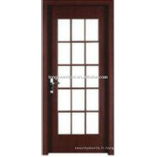 WPC porte de toilette en PVC porte de cuisine avec grilles en verre design