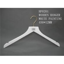 Blanco de alta calidad marca HH ropa superior percha para traje capa con gancho de latón