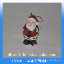 Christmas giftware ceramic hanging ornament in santa shape