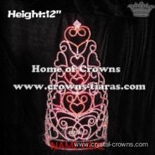 12in Height Large Crystal Valentines Heart Pageant Crowns