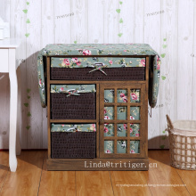casa usou o armário decorativo barato de madeira da tábua de passar a mesa de passar com gavetas da cesta