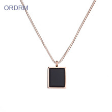 Simple Black Onyx Stone Square Pendant Necklace