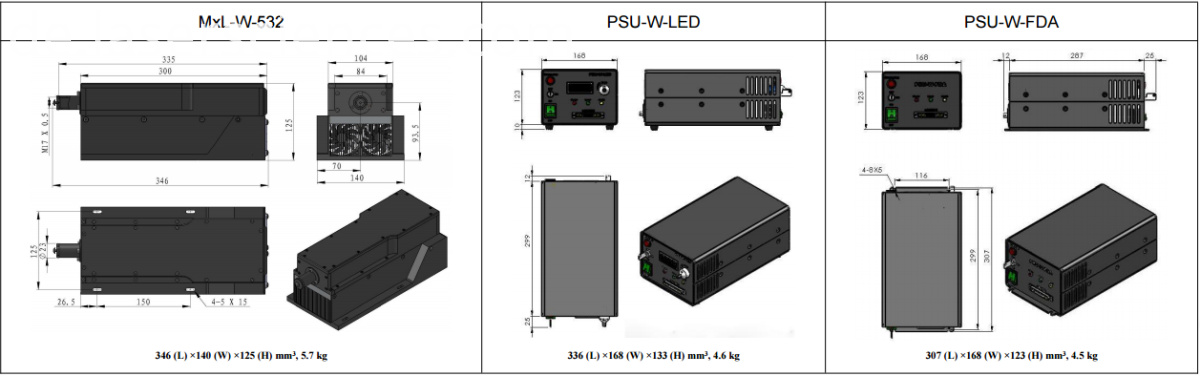 dimenisons of 20 w ultra compact 532nm laser for laser display