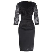 Kate Kasin Mujer cuello profundo cuello rizado floral encaje cabido retro negro lápiz vestido KK001000-1