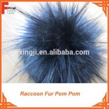 Black 13cm Raccoon Fur Pompom