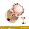 Pink Gemstone Shell Rose Gold Plated Surgical Steel Ear Stud Fake Cheater Plug
