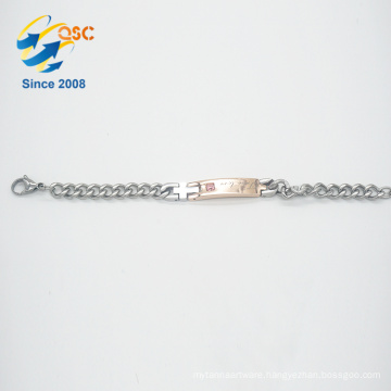 Engraved lucky mommy jewelry stainless steel rose gold bracelet