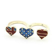 Anillo de dedo doble de la manera, joyería FR05 del anillo de la bandera del corazón tres
