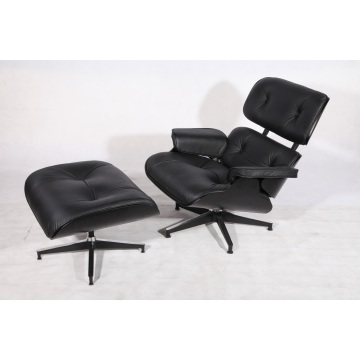 Eames Lounge Chair e ottomana in compensato nero