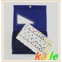 Двойной шесть красочных домино в коробке PVC